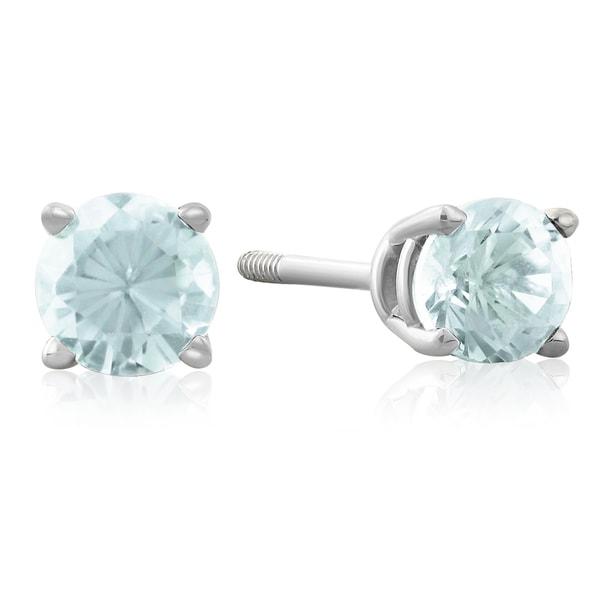 1/2 TGW Blue Topaz Stud Earrings in 14k White Gold
