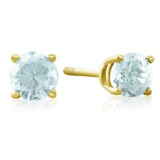 1/2 TGW Blue Topaz Stud Earrings in 14k Yellow Gold