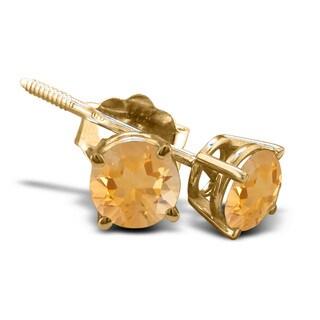 1/2 TGW Citrine Stud Earrings in 14k Yellow Gold
