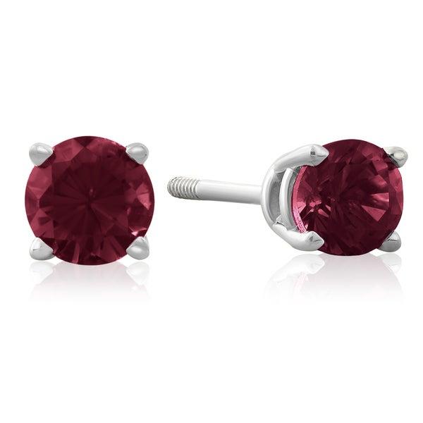 1/2 TGW Garnet Stud Earrings in 14k White Gold
