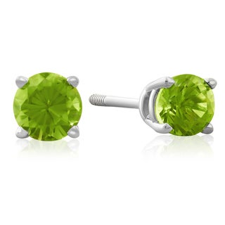 1/2 TGW Peridot Stud Earrings in 14k White Gold