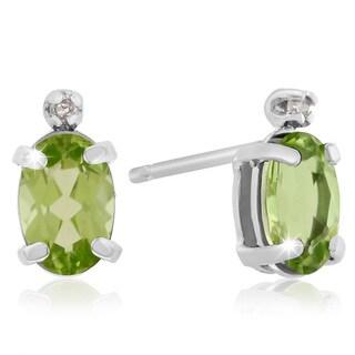 1 TGW Oval Peridot and Diamond Earrings in 14k White Gold