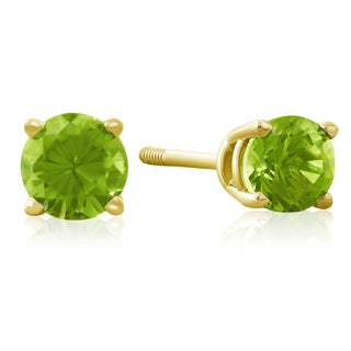 1/2 Carat Peridot Stud Earrings in 14k Yellow Gold