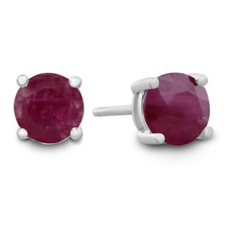 1/2 Carat Natural Ruby Stud Earrings in Sterling Silver