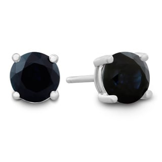 1/2Carat Natural Sapphire Stud Earrings in Sterling Silver