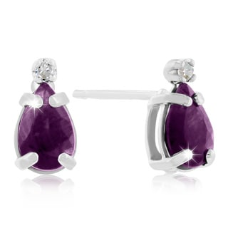 1 Carat Pear Amethyst and Diamond Earrings in 14k White Gold