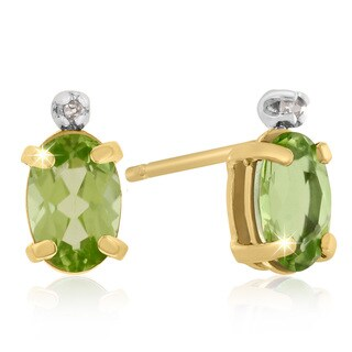 1 Carat Oval Peridot Amethyst and Diamond Earrings in 14k Yellow Gold