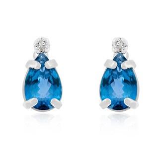 1 TGW Pear Blue Topaz and Diamond Earrings in 14k White Gold