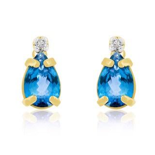 1 TGW Pear Blue Topaz and Diamond Earrings in 14k Yellow Gold