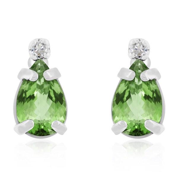 14k Yellow Gold Pear Peridot And Diamond Earrings