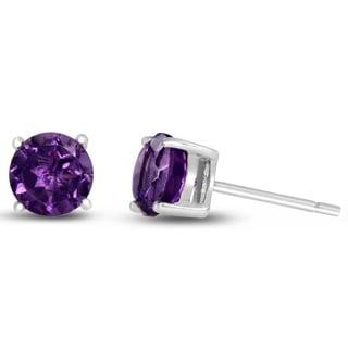2 TGW Round Purple Amethyst Earrings in Sterling Silver