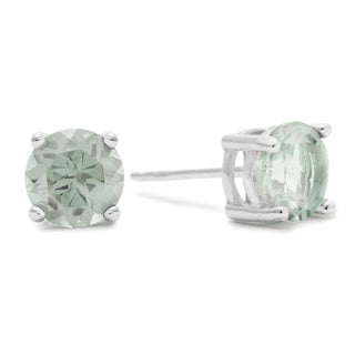 2 TGW Round Green Amethyst Earrings In Sterling Silver