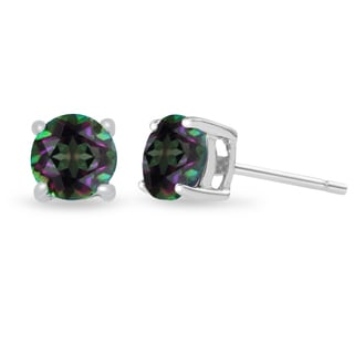 2 Carat Round Mystic Topaz Earrings in Sterling Silver