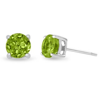 2 Carat Round Peridot Earrings in Sterling Silver