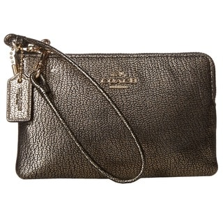 Coach Smooth Leather Corner Zip Wristlet