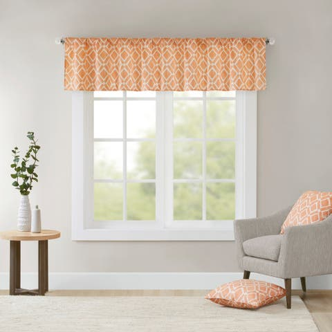 Madison Park Ella Printed Diamond Window Valance - 50 x 18