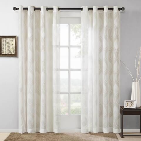 Madison Park Elin Sheer Ogee Jacquard Single Curtain Panel