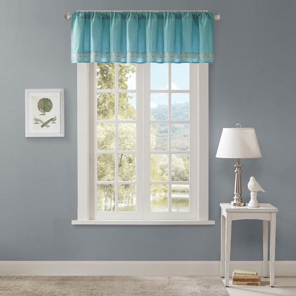 Madison Park Tara Cotton Embroidered Lined Valance With Rod Pocket Finish