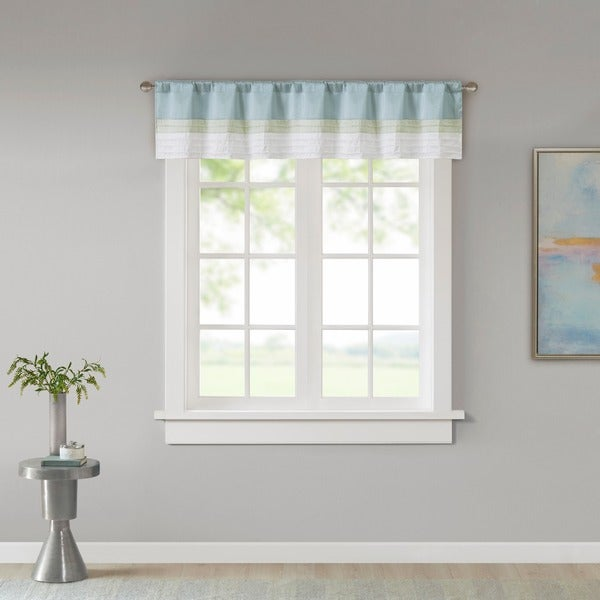 Madison Park Chester Pieced and Pintuck Lined Window Valance with Rod Pocket Finish. Opens flyout.