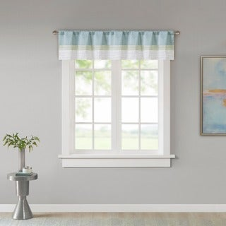 Madison Park Chester Pieced and Pintuck Lined Window Valance with Rod Pocket Finish