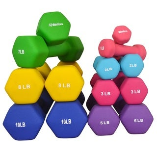 Bintiva Neoprene/Cast Iron Hexagon Dumbbells (Set of 2) (4 options available)