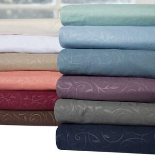 Luxurious 4-piece Embossed Scrolling Vine Pattern Sheet Set