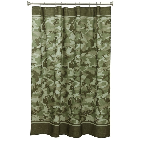 Forest green camo fabric shower curtain free shipping on for Forest green curtains drapes