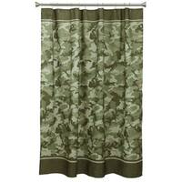 Forest Green Camo Fabric Shower Curtain