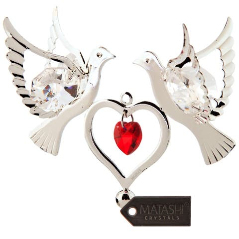 Matashi Silver Plated Red Crystal Studded Love Doves Birds Hanging Ornament with Heart Romantic Gift