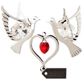 Matashi Silverplated Genuine Crystals Love Doves Ornament