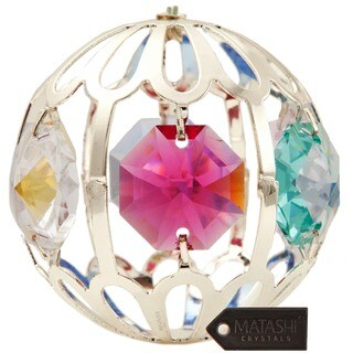 Matashi Silverplated Genuine Crystals Highly Polished Beautiful Crystal Ball Ornament