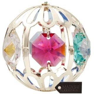 Matashi Silverplated Genuine Crystals Highly Polished Beautiful Crystal Ball Ornament