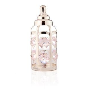 Matashi Silverplated Genuine Crystals Highly Polished Baby Bottle Ornament