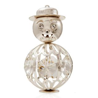 Matashi Silverplated Genuine Crystals Highly Polished Adorable Smiling Snowman Ornament