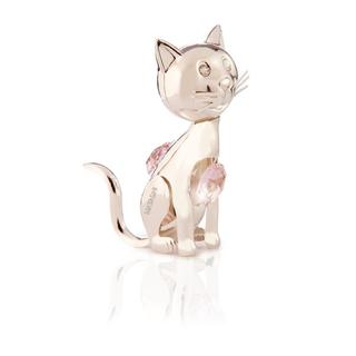 Matashi Silverplated Genuine Crystals Cartoon Kitty Cat Ornament