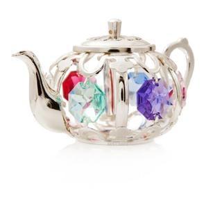 Matashi Silverplated Genuine Crystals Beautiful Colorful Tea Pot Ornament