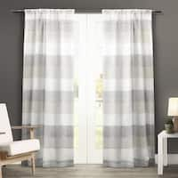 Havenside Home Rohoboth Stripe Sheer Curtain Panel Pair with Rod Pocket