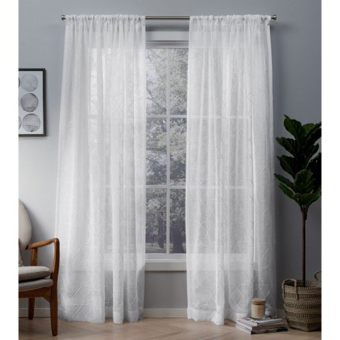 ATI Home Cali Embroidered Sheer Rod Pocket Top Curtain Panel Pair