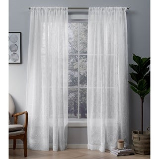 ATI Home Cali Embroidered Sheer Rod Pocket Top Curtain Panel Pair (More options available)