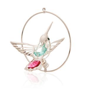 Matashi Silverplated Genuine Crystals Beautiful Colorful Humming Bird Ornament