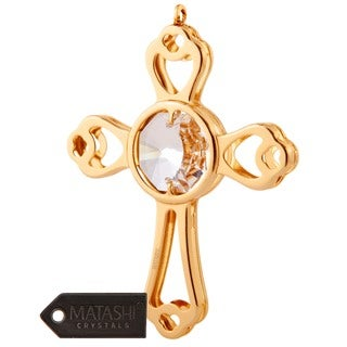 Matashi 24k Goldplated Genuine Crystals Mini Cross Ornament