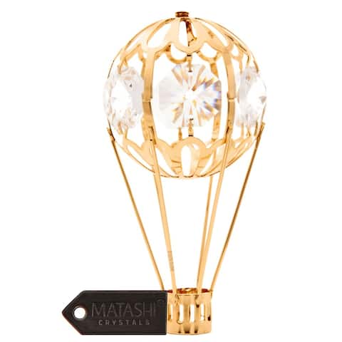 24k Gold Plated Mini Hot Air Balloon Ornament Made with Genuine Matashi Crystals