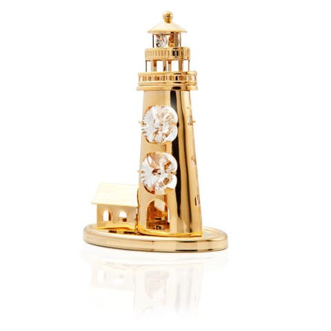 Matashi Goldplated Genuine Crystals Mini Lighthouse Ornament