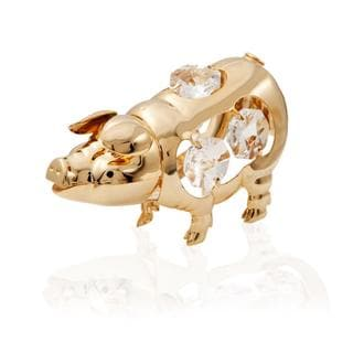 Matashi 24k Goldplated Genuine Crystals Open Mouth Pig Ornament Clear