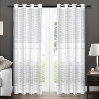 ATI Home Pesaro Striped Sheer Grommet Top Curtain 84 - 96-inch Length Panel Pair
