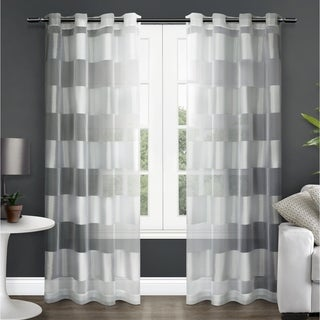 ATI Home Navaro Striped Sheer Grommet Top Curtain Panel Pai