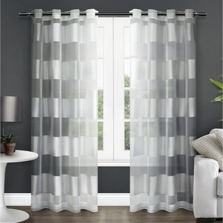 ATI Home Navaro Striped Sheer Curtain Panel Pair with Grommet Top