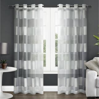 ati home navaro striped sheer grommet top curtain panel pair - White Sheer Curtains