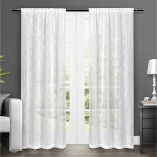 ATI Home Salzberg Embroidered Semi-Sheer Rod Pocket Window Curtain Panels - 50-inch X 84-inch