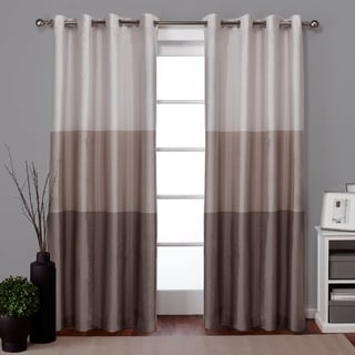 ATI Home Chateau Striped Faux Silk Grommet Top Curtain Panel Pair - N/A